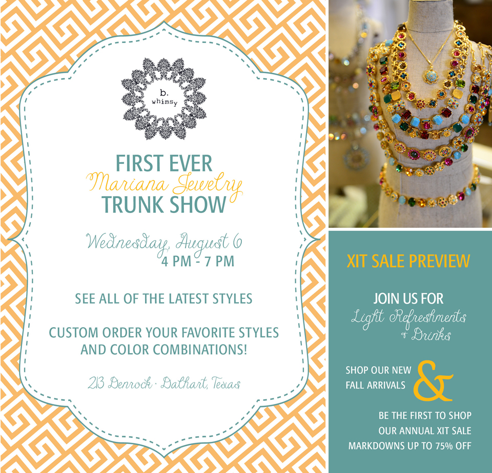Mariana Trunk Show + XIT Tailgate
